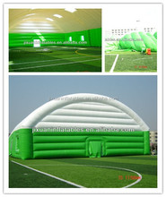 giant inflatable green and white stripe tennis court tent