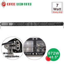 "Super high power 7w P.hilips straight 48.5"" 672w led light bar"