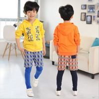 autumn&spring in 2015 new boy suit children's clothing spelling a fake diamond lattice phase 2 suit boy l hooded long-sleeved