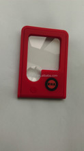 10X red plastic illuminated card magnifying glass with free batteries