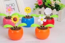 newly design Solar energy flower pot solar swing flip flap dancing flowers, car decorative gift sun doll factory wholesale