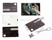 Pocket multi function credit card size tool set with light