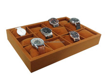 Flannelette watch display tray Wooden display case for 12 watches GC07-ZS-028