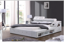 hot sale furniture, white modern leather bed with storage