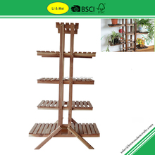 LMC501 Custom OEM Wood Cedar Standing Flower Pot Rack