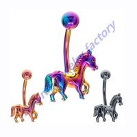 DAR New Fashional Sexy Coiled Horse Anodized Titanium Plated Navel Belly Ring Piercing Body Jewelry