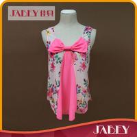 2015 sleeveless o-neck fashion sexy flower printed women tops a662