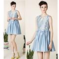 vestido de sol Peplum de alta calidad fabricante en China de vestido de cuello redondo para las mujeres