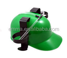 Custom plastic green beer helmet drinking hat cap game drink can holder fun party HT4391