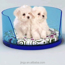 wholesale custom light blue lucite acrylic pet cat and dog bed