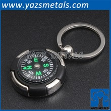 custom design metal compass keychain laser logo