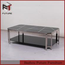 negro templado de vidrio de acero inoxidable mesa de café