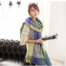 Lady's wool blanket oversize tartan hijab scarf knitting woool wrap pashmina shawl