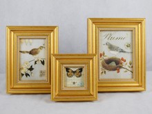 Chinese Style Luxrious Gold Plated Traditional Wood Photo frame Set For Home Decoration