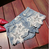 D70735T summer new style girls jean shorts2014