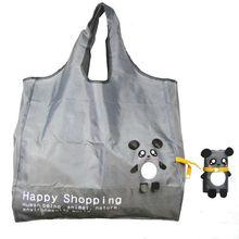 Reusable Shopping Tote Bag - Folded into a Bear - Grey