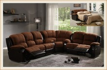Dark brown fabric recliner chaise sofa with folding bed