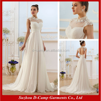 WD-1455 Sheer cap sleeves sexy low back wedding dress with high collar wedding dresses new models