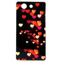 Love heart pattern pretty design IMD cell phone TPU case for Sony Z3 mini