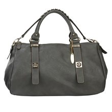 2012 china grey pu leather high quality canvas tote bags design tote bag