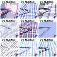 Mulinsen Textile High Quality Plain Woven Casual Shirting Chambray Stripe and Plaid 100 Combed Yarn Dyed Cotton Fabric