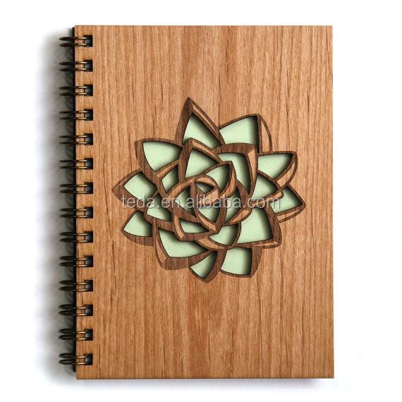 Flower Shape wooden Journal Notebook