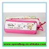 Lovely pig print pink canvas zipper pencil bag for girls