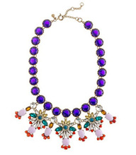 F05055 Luxury Retro Purple Flowers Pendant Party Necklace Choker Collar For Lady Woman