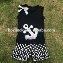 Cute toddler girls boutique clothes wholesale fall children outfits cotton black t-shirt and striped ruffled pants sets