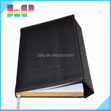 High quality genuine leather notebook with pocket / zipper for prmotion