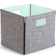 Hot Selling Gray Open felt foldable storage box container for home using with handle mint blue inside