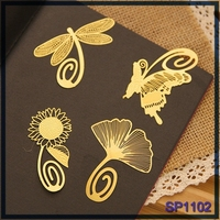 wholesale china stationery plant and flower designs good gift page marker brass metal bookmark