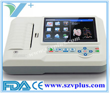 Portable ECG 600G Digital 3/6 Channel ECG machine color display with touch screen