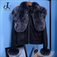 Genuine Leather Clothing with Detachable Fox Fur Collars FUR ONE Jacket