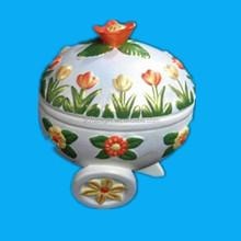Vintage in ceramica dipinta a mano easter egg piatto con coperchio/uovo vaso