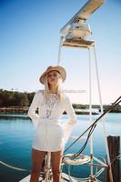 Elegant White Short Dress Lined Long Sleeve Beach Linen Dress With Crochet