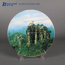Pretty Photo Brand Customized Natural Style Fine Bone China Decorative Mountain Plates, Chinese Decorative Plates
