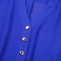 Новая женская элегантная Весна твердых v-образным вырезом с длинным рукавом подкатил рубашки осень кнопки блузка из шифона верхней рубашки большие карманы