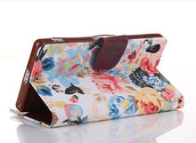 2014 stylish flower print jean cloth wallet leather case for sony z2