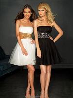 Sheen Strapless Ruffle Beaded Drop Waist 2012 Homecoming Dress