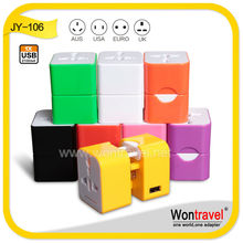 Wontravel 100% OEM adapter plug & unviersal USB travel charger with 2.1A USB for hotel gift