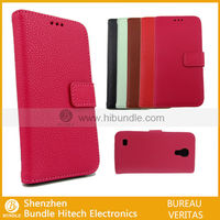 over flip leather lychee grain leather cover case for sumsung galaxy s4 mini i9190
