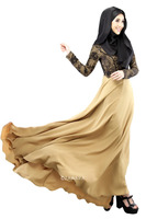 C013 popular satin three colors islamic dresses Long muslim abaya with lace
