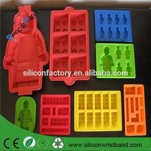estupendo 100% de grado alimentario lego en forma de molde de pastel de silicona, robot molde de pastel de silicona