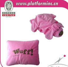 Tummy stuffed Tan dog plush animal shape convert to pillow