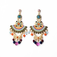 Fashion Earrings Bohemian Designs Beads Tassel Chandelier Earrings E1618