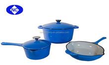 Colorful enamel cookware set cast iron kitchen cookware