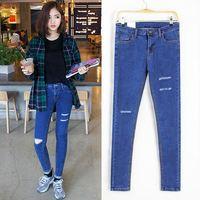 Stretch waist jeans pencil pants skinny pants pants feet pierced hole Breathable Color Fade Proof women Jeans