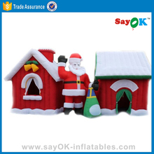 Christmas decoration inflatable christmas village houses resin with santa