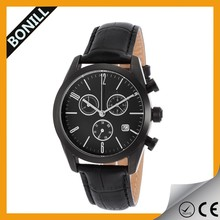 2015 china supplier Hot Sell Japan Quartz Movement leather Watch stainless steel case back